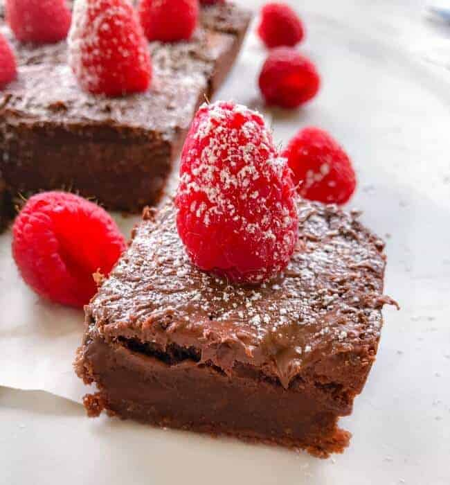 Fudgy Nutella Brownies with Raspberries on top