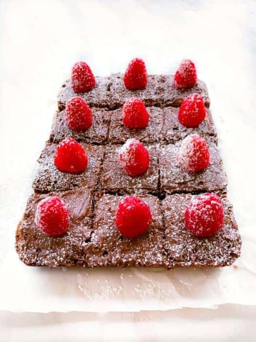 Fudgy Nutella Brownies with Raspberries (5 Ingredients)