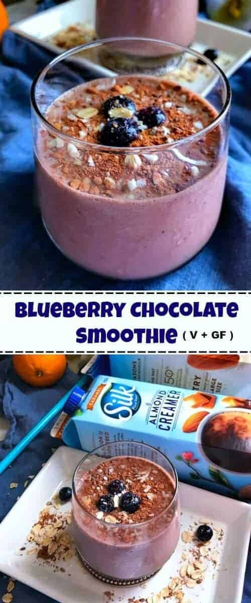 Blueberry Chocolate Smoothie - Vegan and Glutenfree: #ad #SameSilkySmoothTaste #CollectiveBias @walmart @silk #chocolate #smoothie
