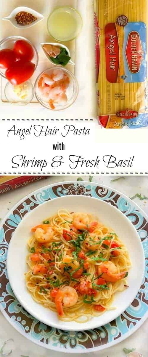 Angel Hair Pasta with Shrimp and Fresh Basil : #GoldenGrainMatchmaker #CollectiveBias #pasta #shrimp #basil