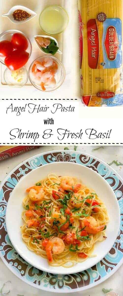 Angel Hair Pasta with Shrimp and Fresh Basil : #GoldenGrainMatchmaker #CollectiveBias #pasta #shrimp #basil