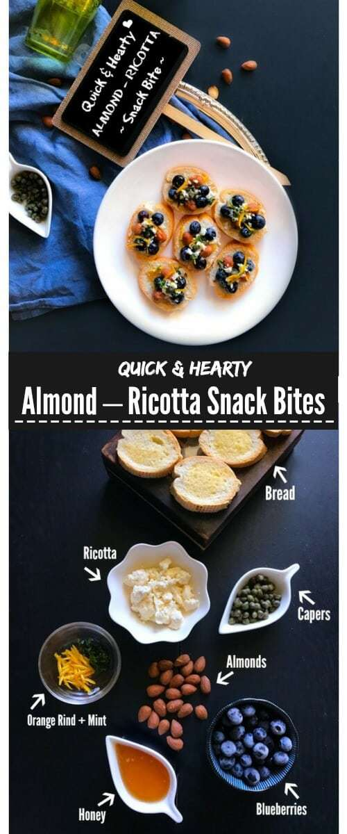 Quick and Hearty Almond – Ricotta Snack Bites: #ad @almonds #healthy #bites