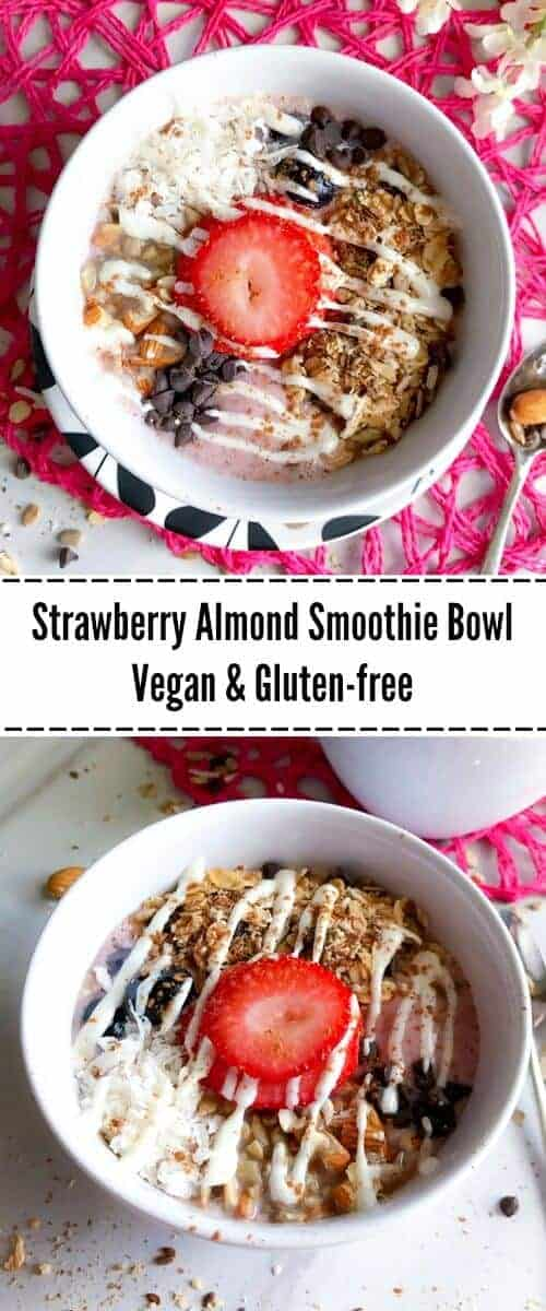 Strawberry-Almond-Smoothie Bowl : #ad #CelebrateAlmonds @almonds #strawberry #smoothie #bowl #almonds