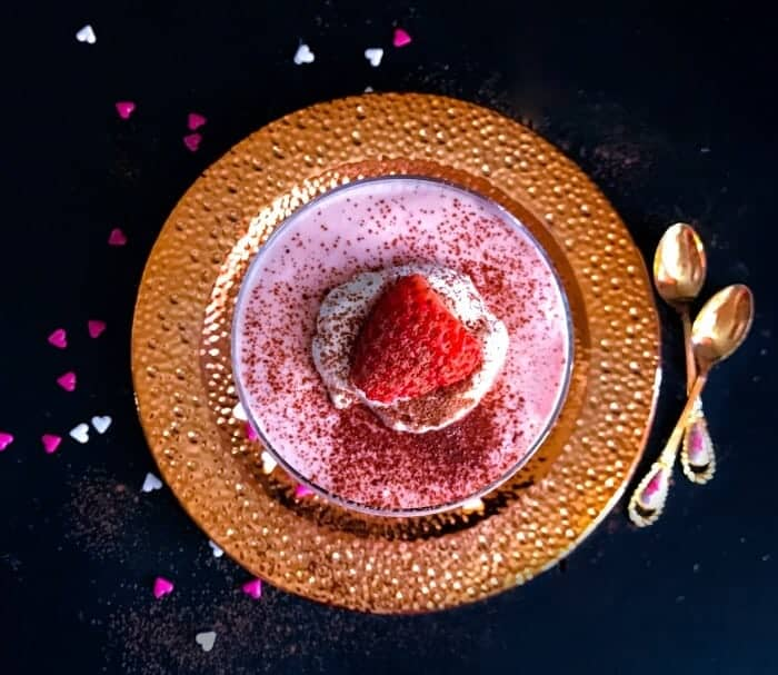 3 Ingredients Strawberry Mousse on a copper plate