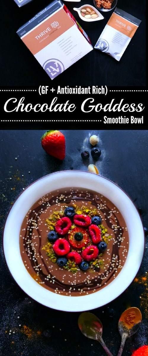 Chocolate Goddess Smoothie Bowl (GF + Antioxidant Rich) : #chocolate #smoothie #bowl #thrivemix