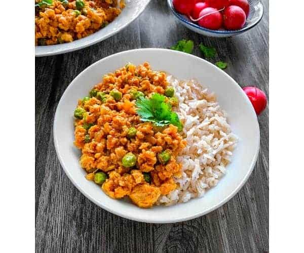 curried turkey rice bowl