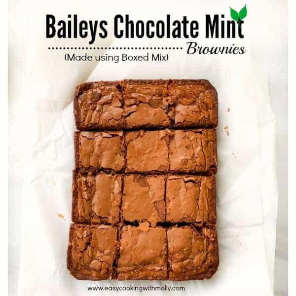 Quick Baileys Chocolate Mint Brownies (using Box Mix)