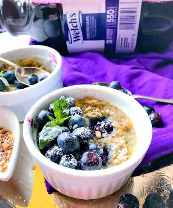 Blueberry, Peanut Butter and Jelly Oatmeal (Microwaveable + Vegan)