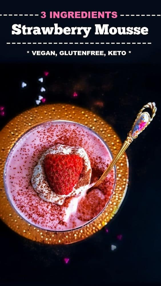 3 Ingredients Strawberry Mousse: Vegan-Glutenfree recipe using strawberries and coconut milk : #mousse #strawberry #vegandessert #springdessert #vegan #glutenfree #valentines