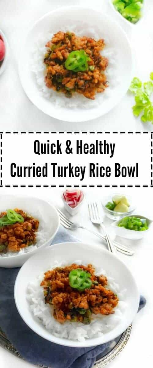 Quick and Healthy Curried Turkey Rice Bowl : #ad #TurkeyRemix @ServeTurkey #TryTurkey #bowl #Turkey