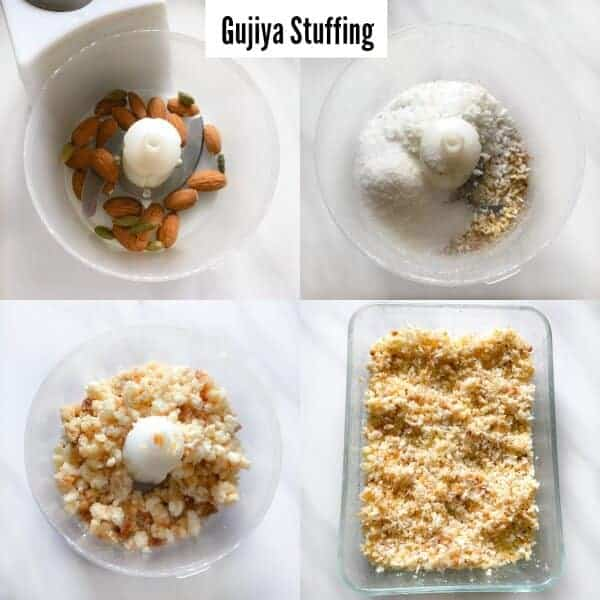 picture of gujiya stuffing made using ricotta cheese