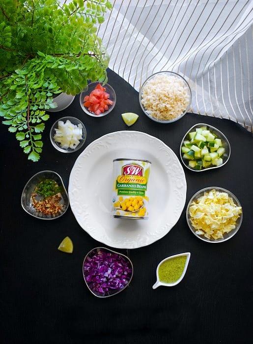 Ingredients for Mediterranean Buddha Bowl