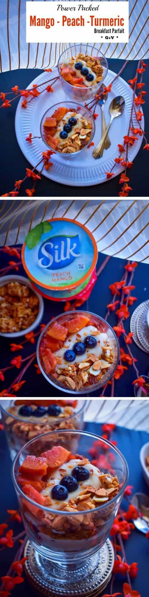 Power Packed Mango-Peach-Turmeric Breakfast Parfait: #DairyFreeGoodness #CollectiveBias #ad @lovemysilk