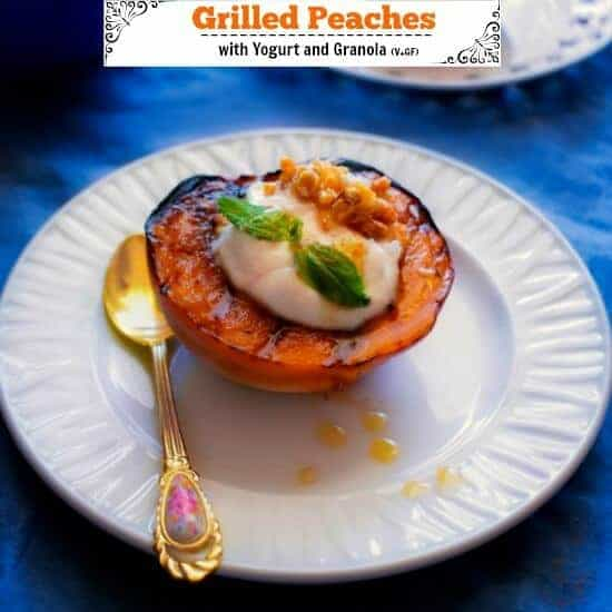 Grilled Peaches with Yogurt and Granola (Healthy Breakfast)