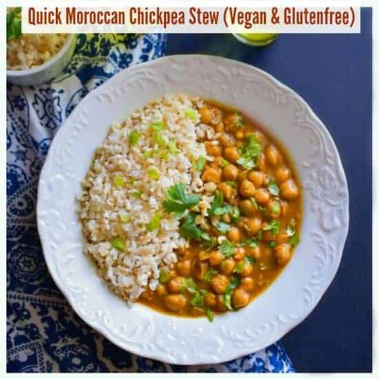 Quick Moroccan Chickpea Stew (Vegan and Glutenfree)