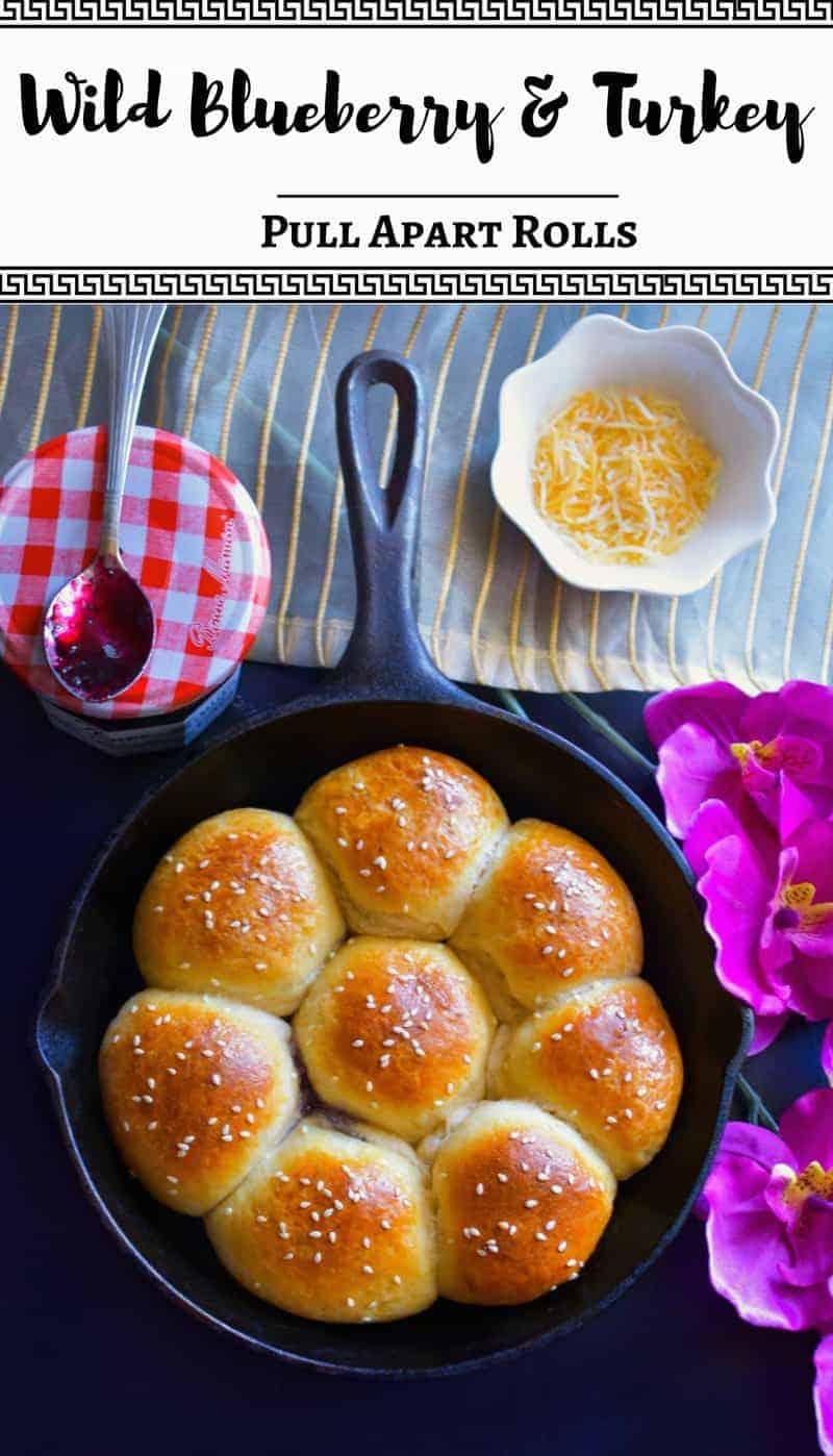 Wild Blueberry and Turkey Pull Apart Rolls: #blueberry #turkey #pullapart #mothersday