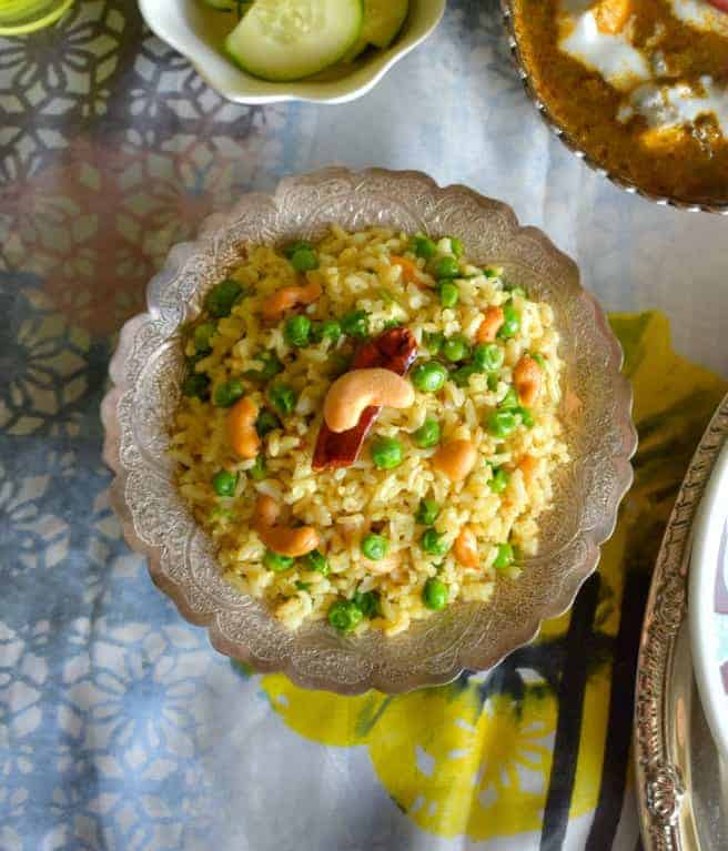 Cashew Peas Brown Rice Pulao Pilaf