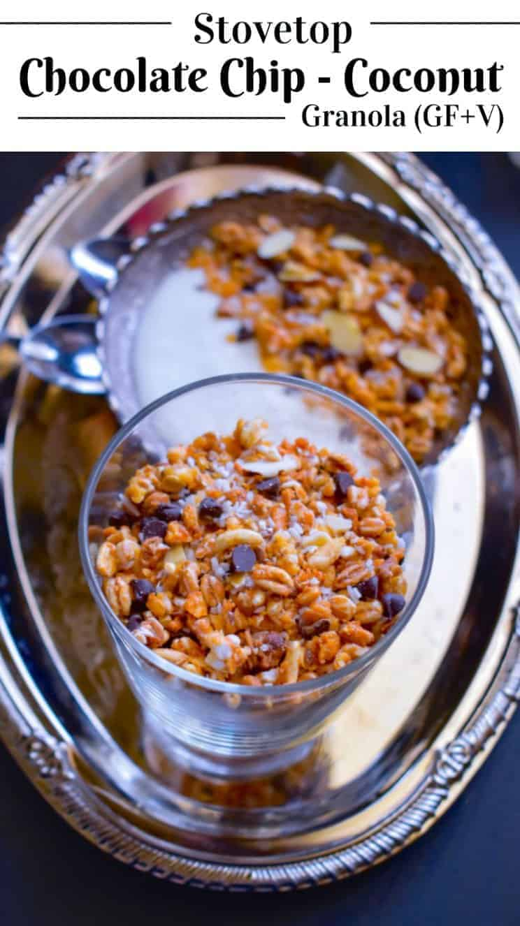 Stovetop Chocolate Chip-Coconut Granola (Glutenfree-Vegan): #granola #stovetop #coconut #vegan