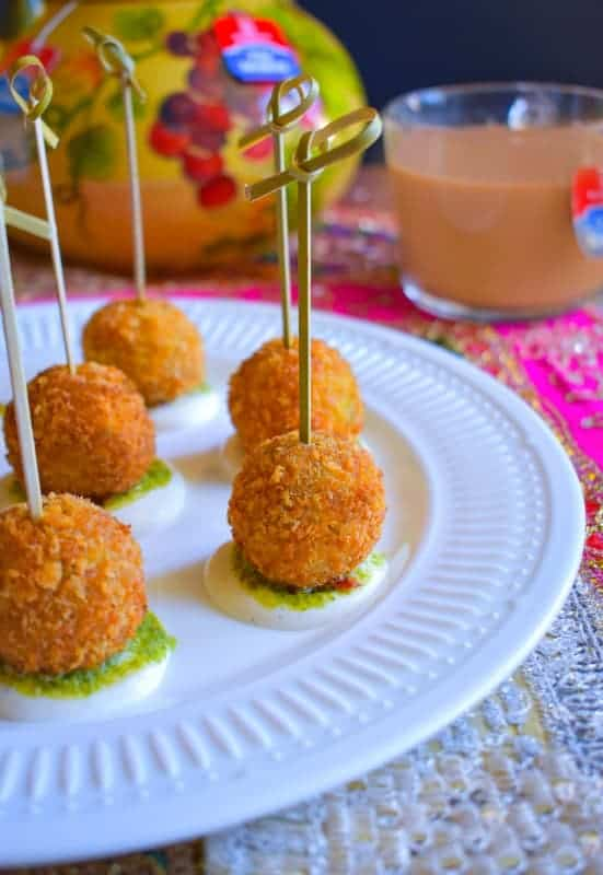 bengali shrimp croquet recipe. Croquet on plate along with tea cups around it