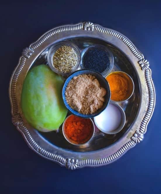 mango chutney ingredients on a silver plate