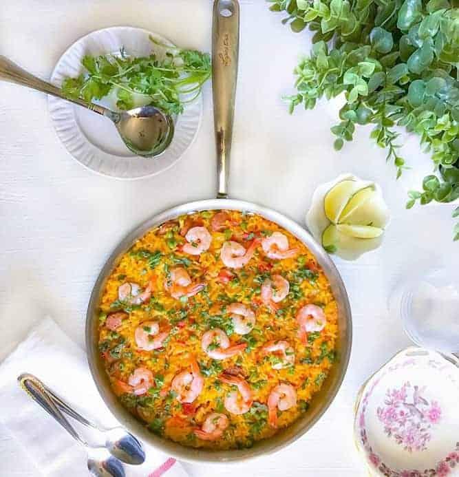 easy shrimp sausage peas paella