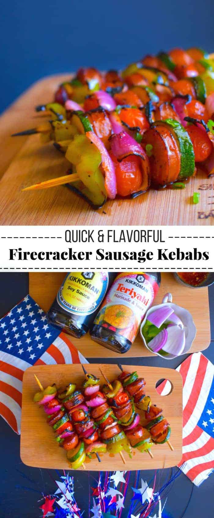Quick and Flavorful Firecracker Sausage Kebabs: #sausage #grilled #skewers #KickinItWithKikkoman #ad