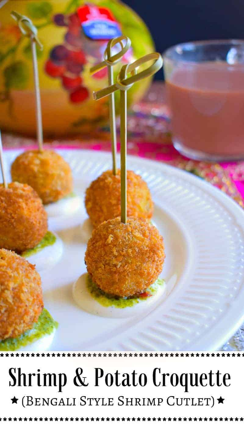 Shrimp and Potato Croquettes (Bengali Style Shrimp Cutlet): #shrimp #croquette #bengali #ad