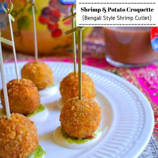 Shrimp and Potato Croquettes (Bengali Style Shrimp Cutlet)