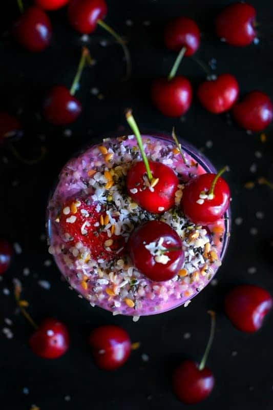 Berry Cherry Protein Chia Pudding recipe