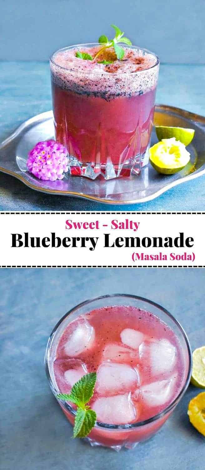 Blueberry Masala Soda (Indian Blueberry Lemonade): #blueberrylemonade #masalasoda #blueberrydrink #mocktail #picnicdrinks