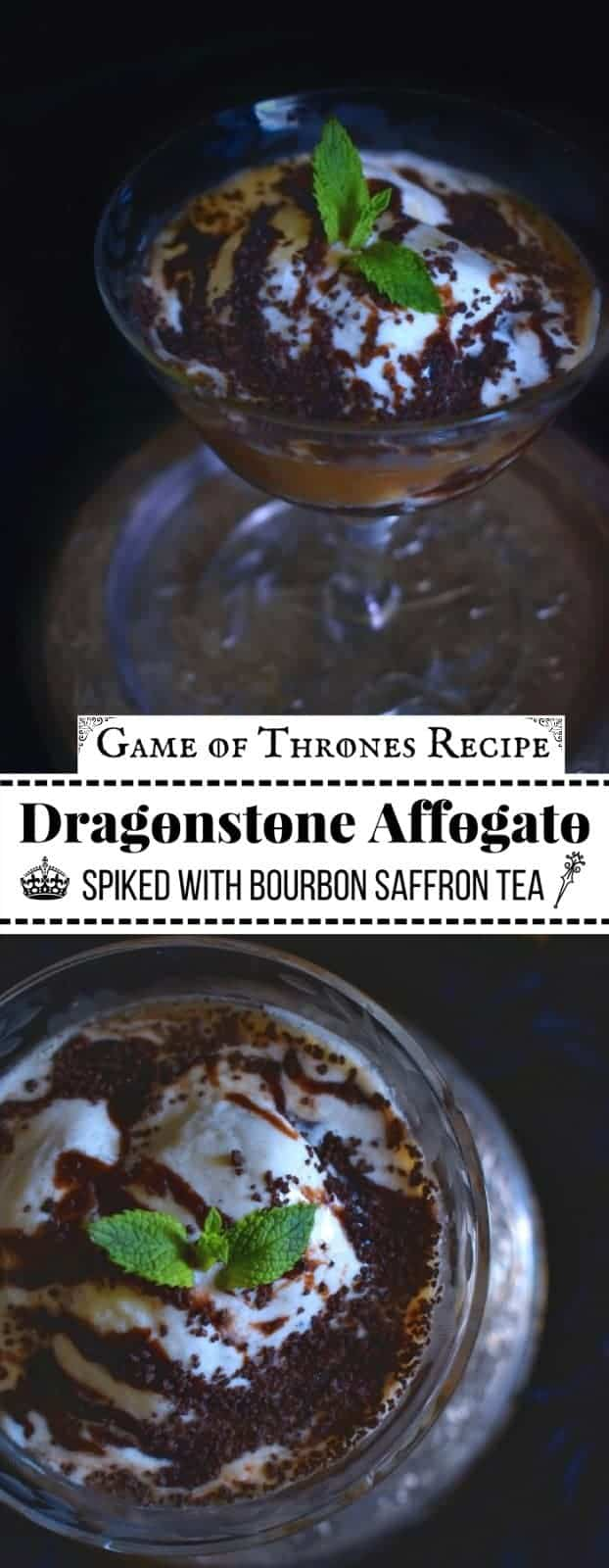 Dragonstone Affogato - Spiked with Bourbon-Saffron Tea: #gameofthrones #affogato #bourbon #saffron