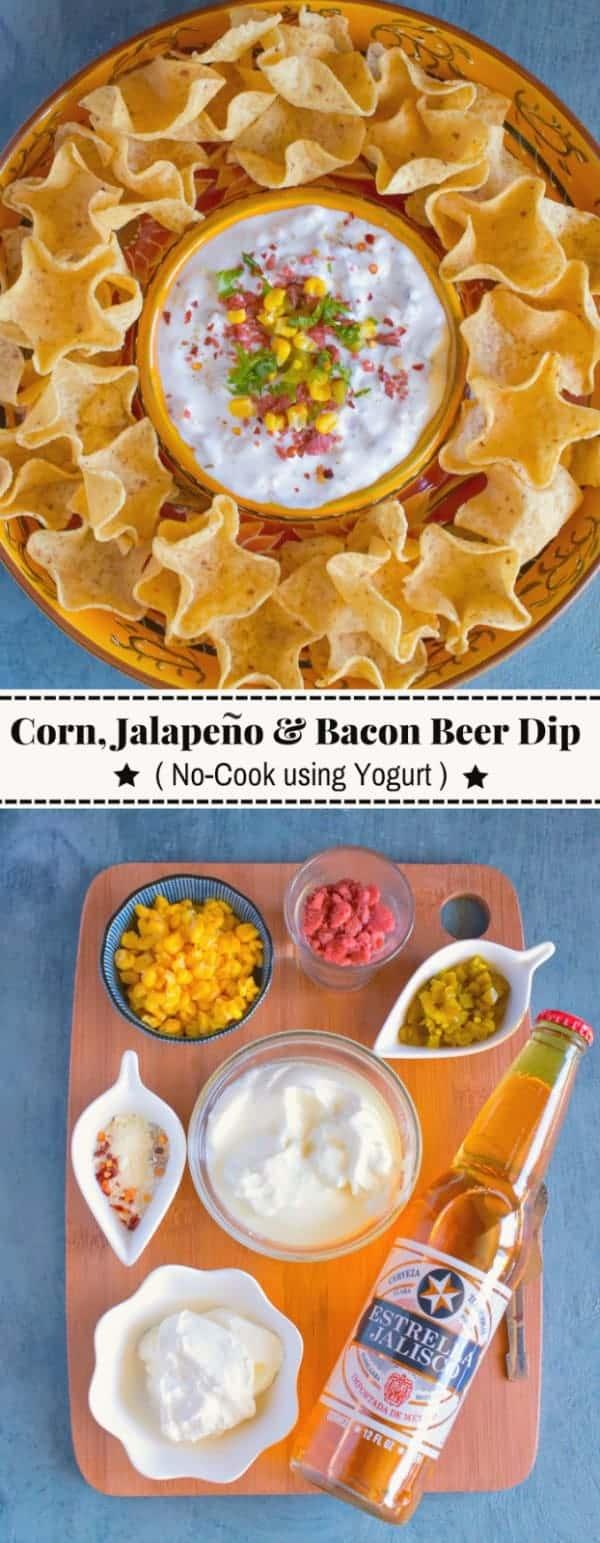 Corn, Jalapeno and Bacon Beer Dip: #corn #bacon #dip #yogurt #EstrellaJalisco #ad