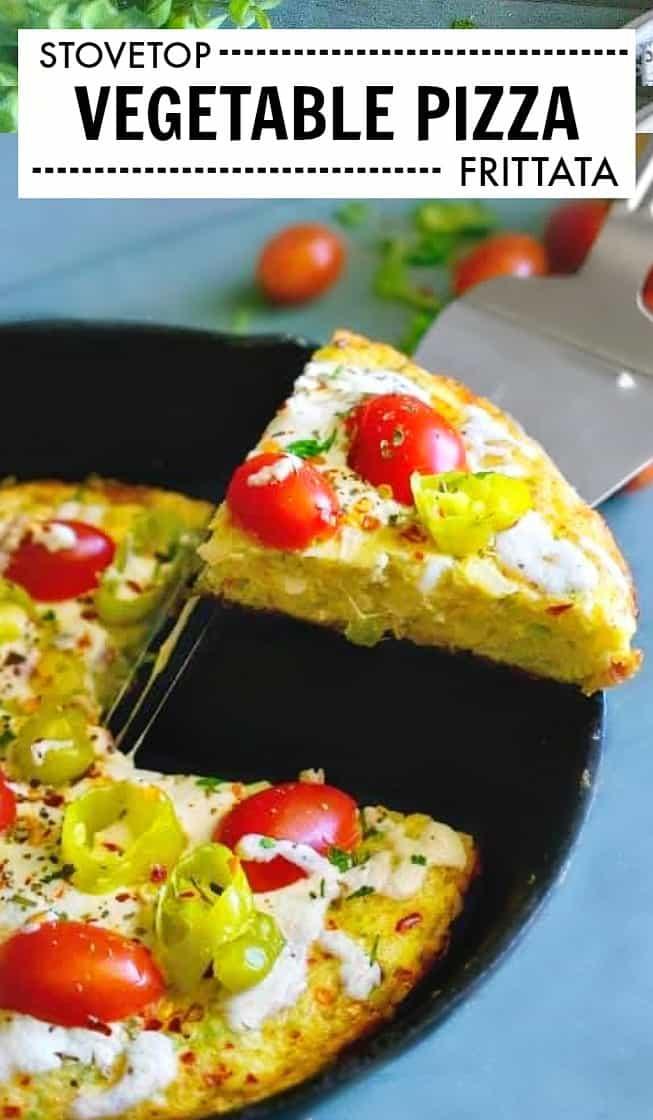 Vegetable Pizza Frittata - Stovetop Frittata #frittata #stovetopfrittata