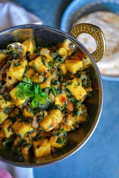 Masala Palak Paneer (Sauteed Spinach with Cheese)