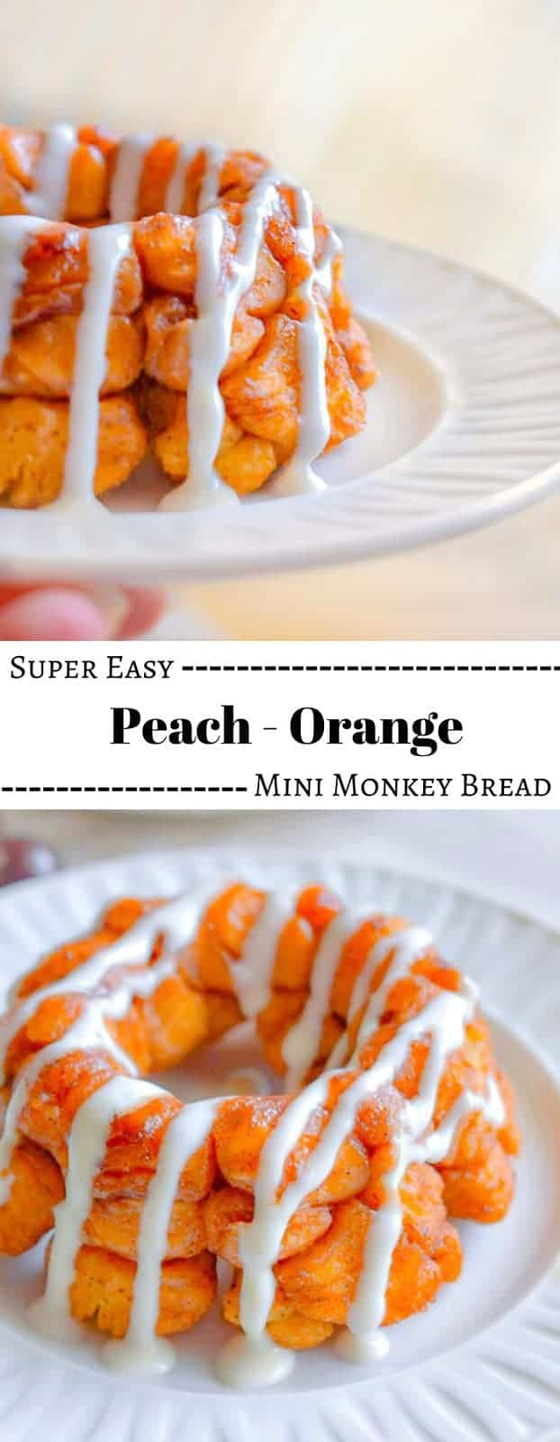 Super Easy Peach Orange Mini Monkey Bread: #monkeybread #peach #orange