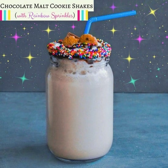 Chocolate Malt Cookie Shakes (with Rainbow Sprinkles)