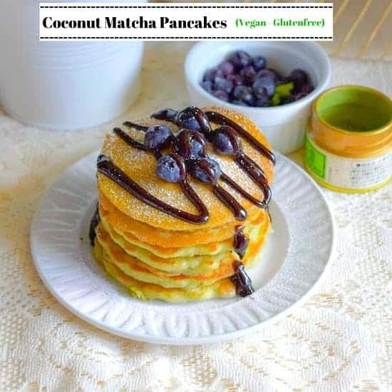 Coconut Matcha Green Tea Pancakes (Vegan-Glutenfree)