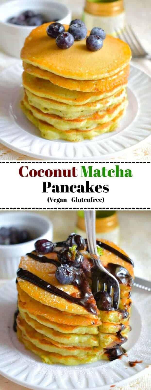 Coconut Matcha Pancakes(Vegan-Glutenfree): #matcha #pancakes #almondflour #vegan