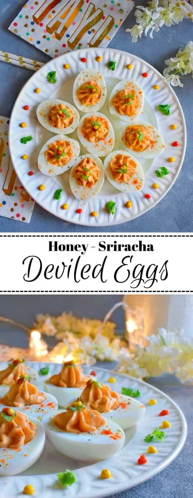 Honey Sriracha Deviled Eggs: #deviled #eggs #snacks #NationalHoneyMonth #ad