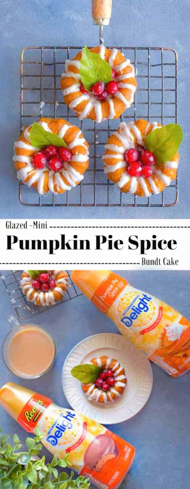 Glazed Mini Pumpkin Pie Spice Bundt Cake: #pumpkin #pie #spice #bundt #mini #DelightfulMoments #ad @walmart
