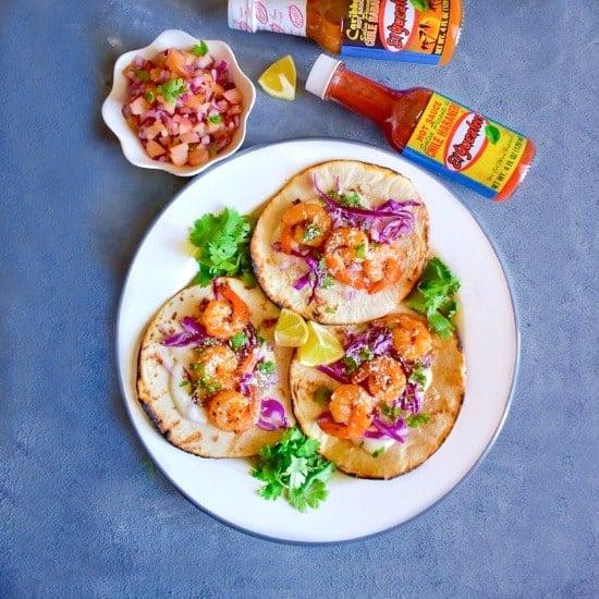 Caribbean Jerk Shrimp Taco with Plum Salsa
