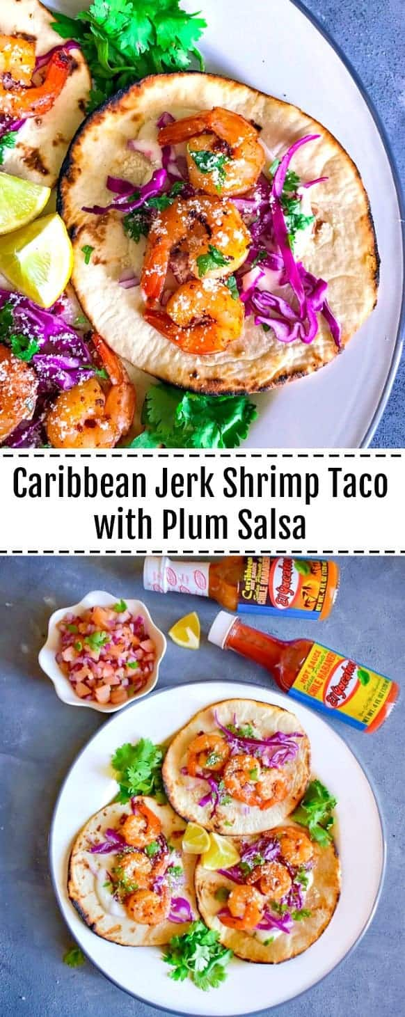 Caribbean Jerk Shrimp Taco with Plum Salsa: #shrimp #caribbean #jerk #taco #Ad #KingOfFlavor #FieldToBottle