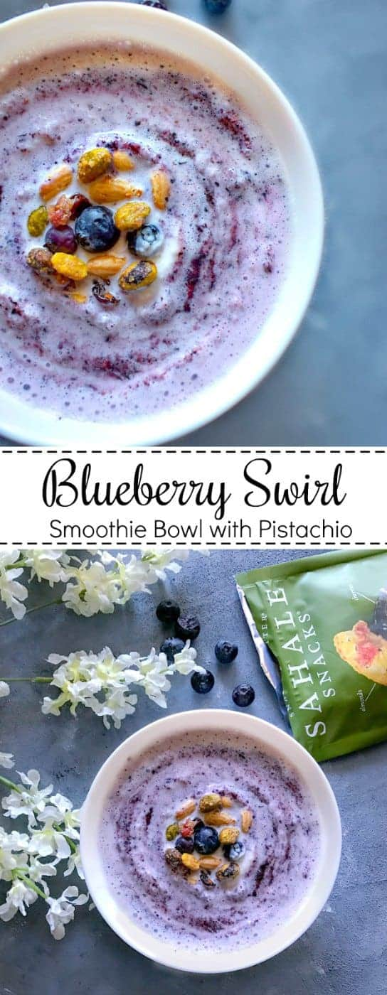 Blueberry Swirl Smoothie Bowl with Pistachio: #blueberry #smoothie #bowl #vegan #SahaleSnacksatTarget #ad