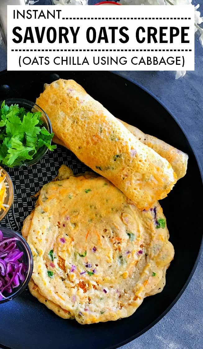 Instant Savory Oats Crepe using flour and cabbage #oats #crepe Oats Chilla