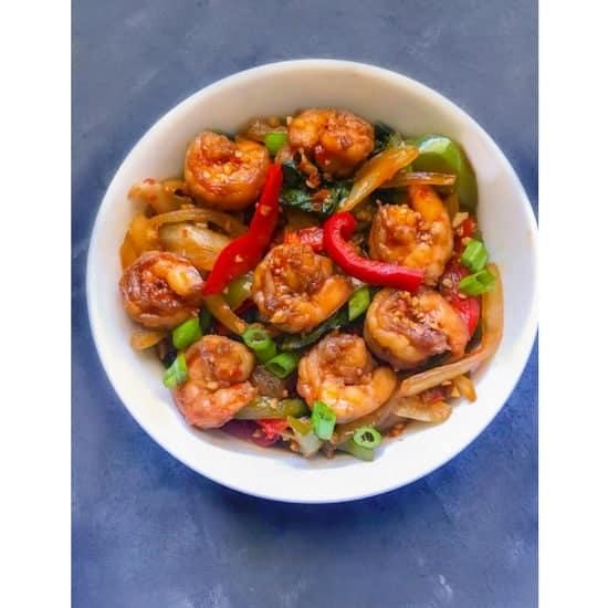 Super Quick Chili Garlic Shrimp Stir Fry