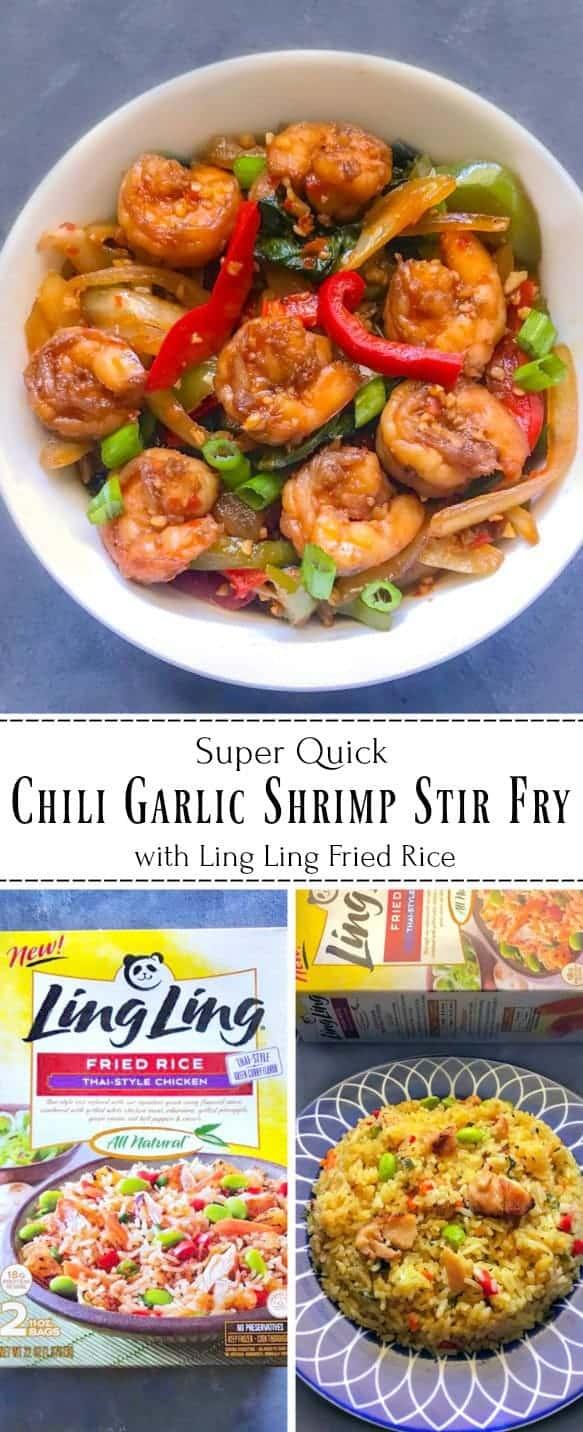 Super Quick Chili Garlic Shrimp Stir Fry with Ling Ling Fried Rice: #shrimp #garlic #stirfry #LingLingFriedRice #IC #ad