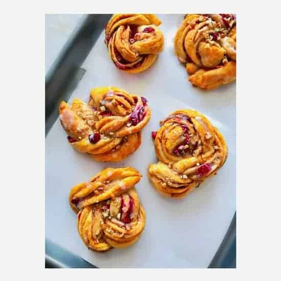 Cranberry Cinnamon Pecan Braided Rolls