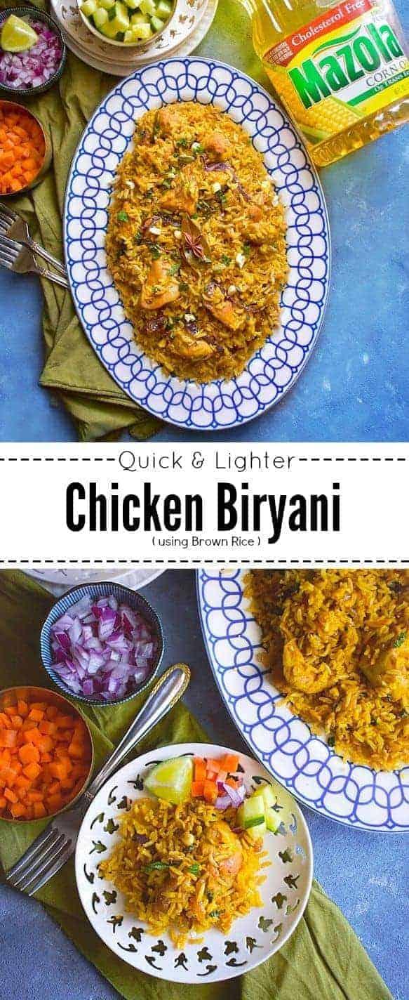 Quick & Lighter Chicken Biryani: #chicken #biryani #brownrice #ad #simpleswap