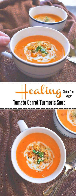 Healing Tomato Carrot Turmeric Soup: #detox #healing #turmeric #tomato #soup