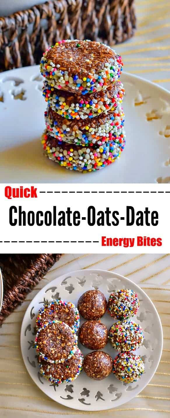 Quick Chocolate Oats Date Energy Bites: #energy #breakfast #snack #date #chocolate